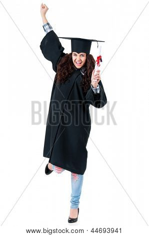Happiness graduate girl student in mantle with diploma, isolated on white background