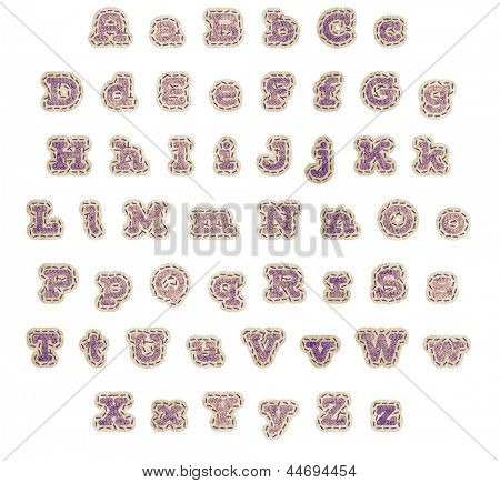 Upper and lower case alphabet in purple fabric patches with brown stitching and beige outline with clipping path