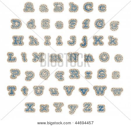 Upper and lower case alphabet in blue denim fabric patches with brown stitching and beige outline with clipping path