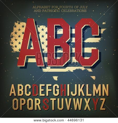 American themed alphabet. With elements for Independence Day, vector, EPS10