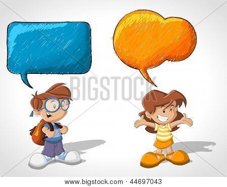 Cartoon children talking with speech balloon