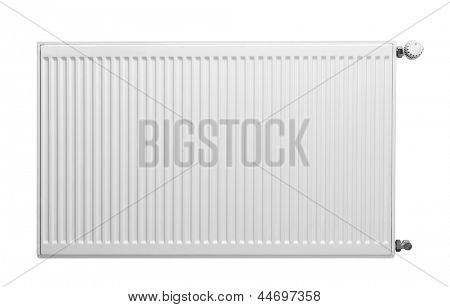 Heating radiator with thermostat isolated on white