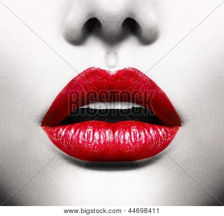 Sexy Lips. Black and White Conceptual Image with Vivid Red Open Mouth. Makeup