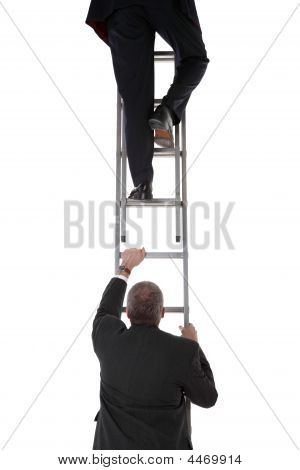 Two Businessmen On A Ladder