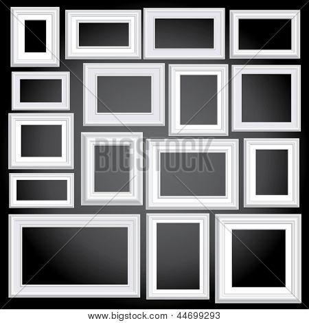 vector illustration of sixteen blank white frames