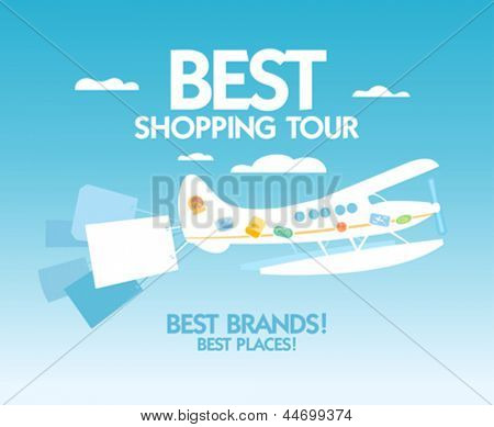 Best shopping tour design template with airplane and paper bags.