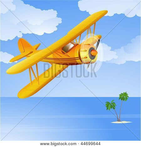 Yellow biplane in the tropical sky. Vector.