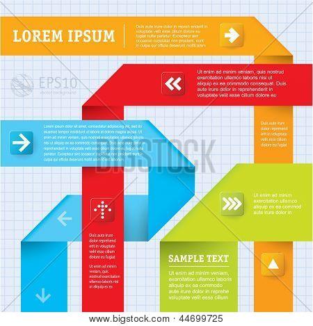 Plantilla de infografías de vector de papel de color abstracto.