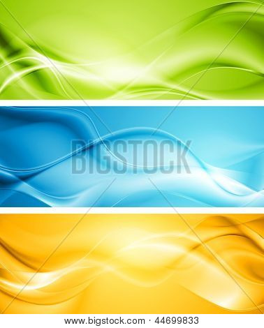 Elegant smooth waves banners. Vector template eps 10