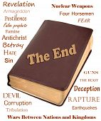 stock photo of rapture  - Words that relate to the end of the world around a leather bible - JPG