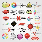 image of universal sign  - collection of vector logos stylized brand universal signs - JPG
