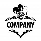 stock photo of harlequin  - vector sign stylized black and white image of Harlequin - JPG