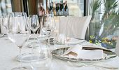 picture of catering  - Wedding catering with plate and cutlery disposition on the table - JPG
