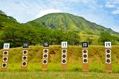 image of shooting-range  - Targets for a shooting range with bullseye