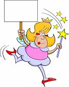 stock photo of faerie  - Cartoon illustration of a fairy godmother holding a magic wand and a sign - JPG