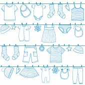 stock photo of peg  - Children and baby clothes on clothesline seamless pattern doodle style - JPG