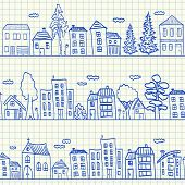 picture of tree lined street  - Houses doodles on school squared paper seamless pattern - JPG