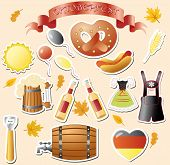 stock photo of lederhosen  - set of vector subjects for octoberfest - JPG