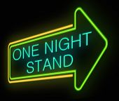 stock photo of encounter  - Illustration depicting an illuminated neon sign with a one night stand concept - JPG