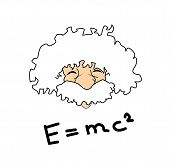 stock photo of einstein  - very big size albert einstein illustration with the relativity formula - JPG