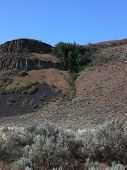 stock photo of sagebrush  - The Palisades is a central Washington canyon filled with rock mesas and sagebrush.