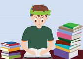 Boy Reading Book Prepare For Examination