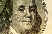 stock photo of politician  - Benjamin Franklin portrait on hundred american dollar bill - JPG
