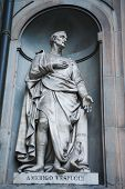 stock photo of cartographer  - Statue of Amerigo Vespucci the famous Italian explorer financier navigator and cartographer in Uffizi Gallery Florence Italy - JPG