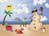 stock photo of sand dollar  - A sand snowman on a tropical sunny beach vacation in paradise with beach toys - JPG