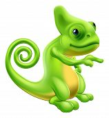 picture of chameleon  - Illustration of a cartoon chameleon mascot standing and pointing - JPG