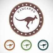 Set of vector kangaroo label