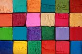pic of squares  - Multi colour pastel chalks macro shot background - JPG