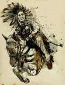 stock photo of indian chief  - Indian Chief riding a horse and jumping over a hurdle - JPG