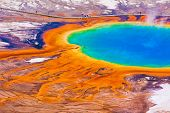 stock photo of masterpiece  - The World Famous Grand Prismatic Spring in Yellowstone National Park - JPG