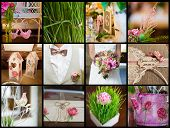 picture of marriage ceremony  - Original collage collection of wedding details from ceremony and reception - JPG