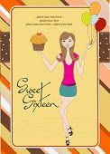 picture of sweet sixteen  - Sweet Sixteen Birthday card with young girl - JPG
