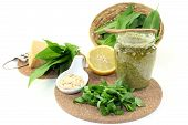 stock photo of pine nut  - Wild garlic pesto with fresh wild garlic and pine nuts - JPG