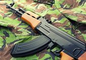 stock photo of ak-47  - Russian assault rifle AK - JPG