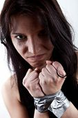 stock photo of kidnapped  - closeup portrait of kidnapped woman - JPG