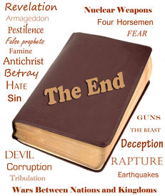 picture of antichrist  - Words that relate to the end of the world around a leather bible - JPG