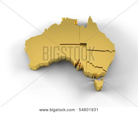 Australia map 3D gold with states stepwise and clipping path