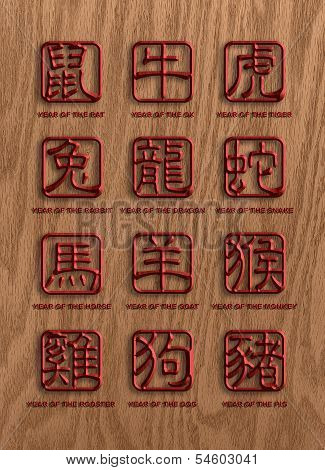 12 Chinese Zodiac Animals Wood Signs