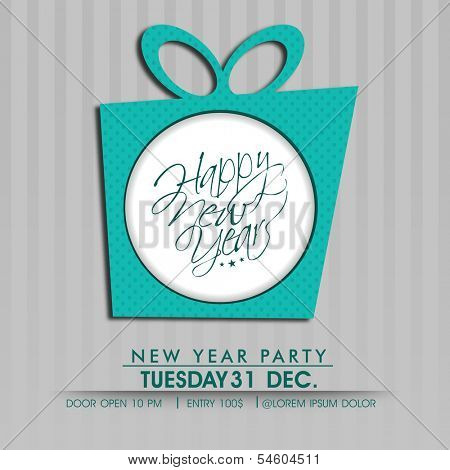 Happy New Year 2014 celebration flyer, banner, poster or invitation with gift box on grey background.