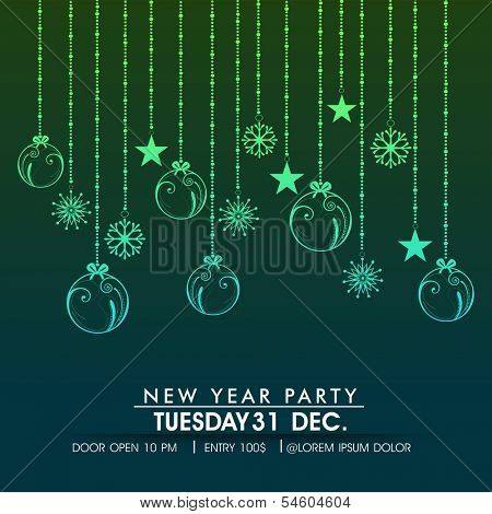 Happy New Year 2014 celebration flyer, banner, poster or invitation with hanging shiny Xmas balls, stars or snowflakes on green background.