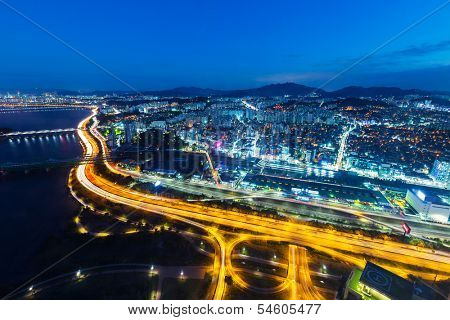 Seoul cityscape at night