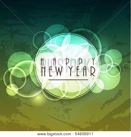 Stylish Happy New Year 2014 celebration flyer, banner, poster or invitation with stylish text on grungy green background.