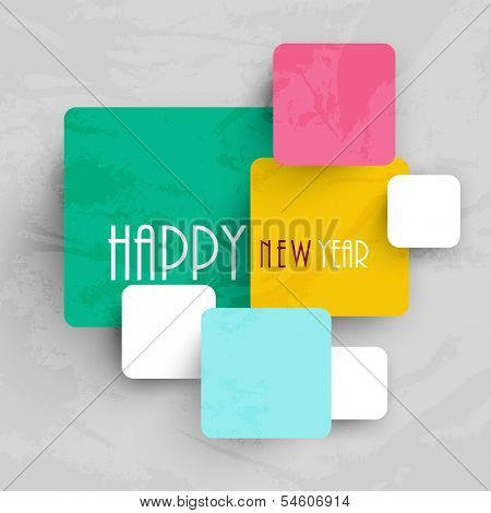 Stylish Happy New Year 2014 celebration flyer, banner, poster or invitation on colorful background.