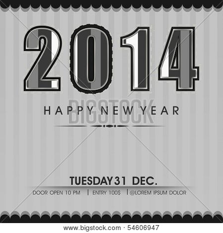 Stylish Happy New Year 2014 celebration flyer, banner, poster or invitation with stylish text on vintage grey background.