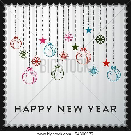 Happy New Year 2014 celebration flyer, banner, poster or invitation with hanging colorful Xmas balls on grey background.