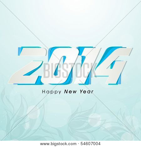 Stylish Happy New Year 2014 celebration flyer, banner, poster or invitation on floral decorative sea green background.